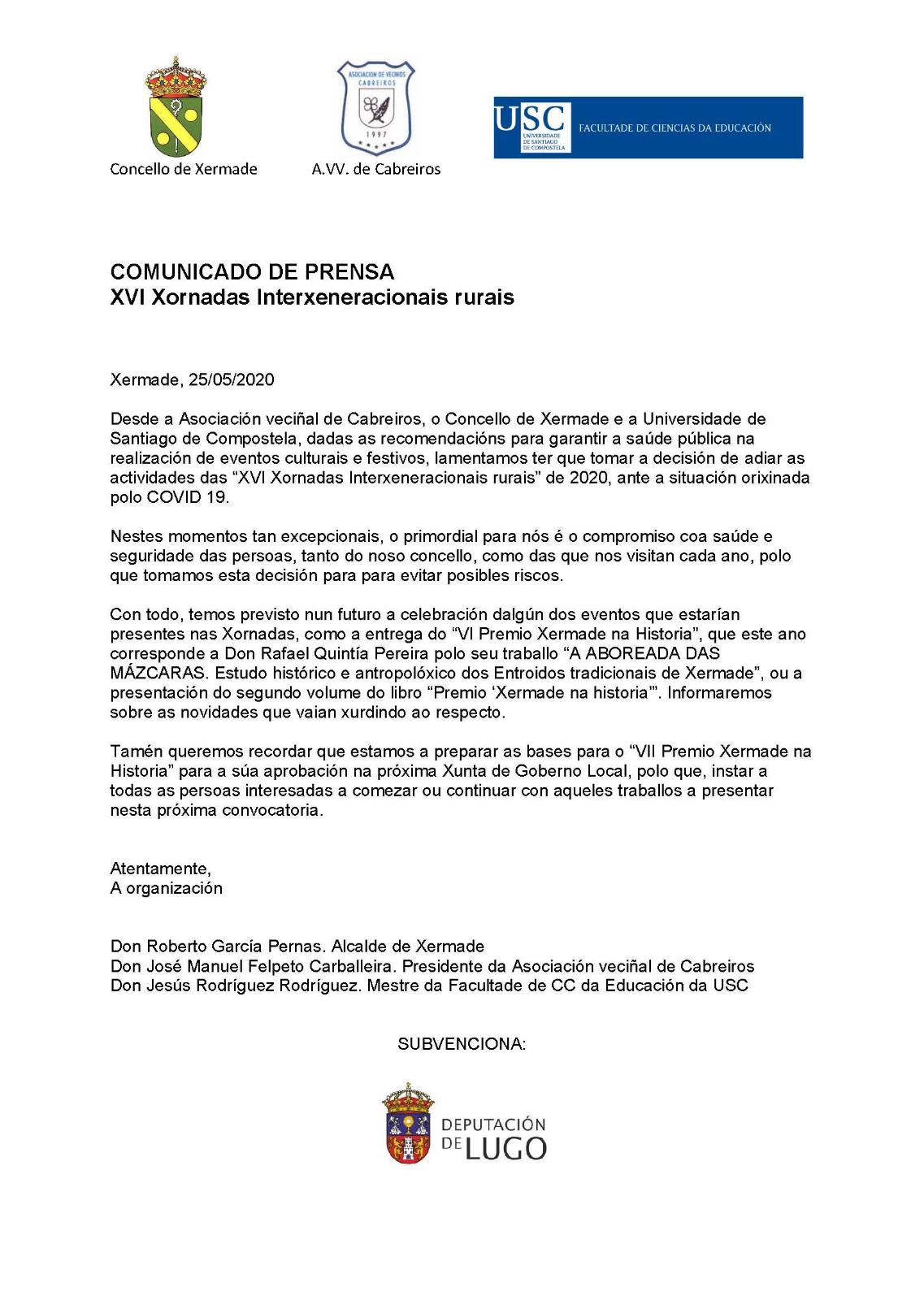 """Aprazamento das actividades da """"XVl Xornadas Interxeneracionais rurais"""""""